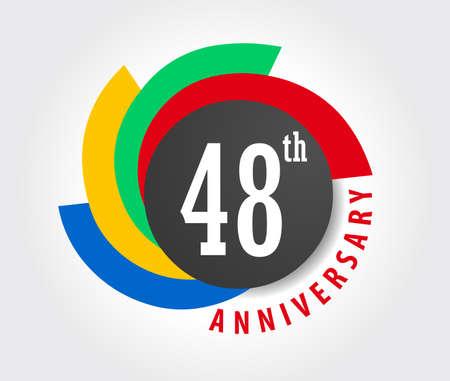 48: 48th Anniversary celebration background, 48 years anniversary card illustration