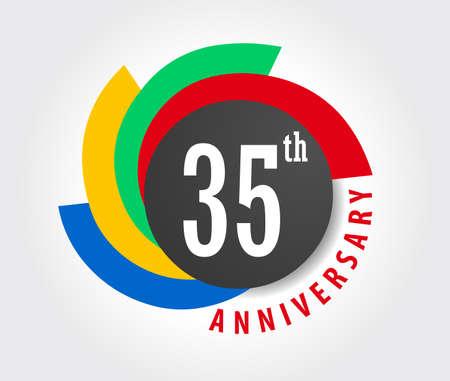 35th Anniversary celebration background, 35 years anniversary card illustration