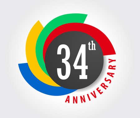 34: 34th Anniversary celebration background, 34 years anniversary card illustration
