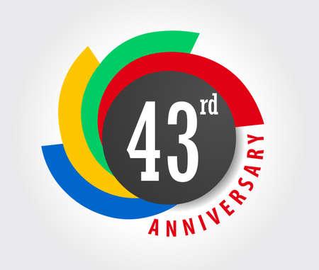 anniversary card: 43rd Anniversary celebration background, 43 years anniversary card illustration Illustration