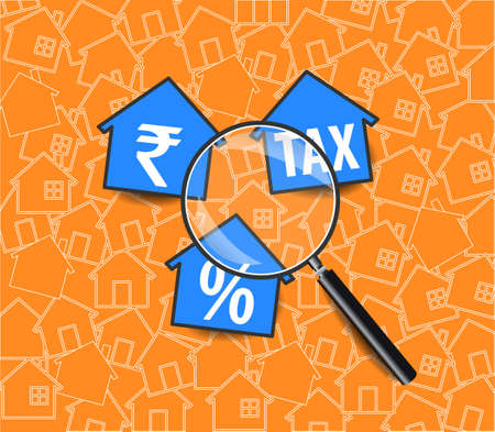 income tax background, tax returns with magnifying glass - vector eps10