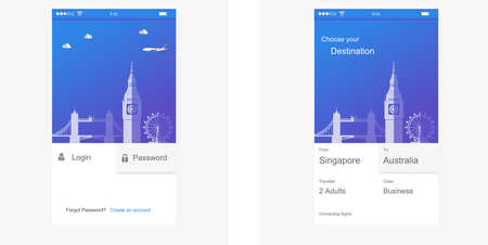 signup: app login screen, signup, password screen layout Login to application account on smartphone screen ui kit in flat design style - vector eps10