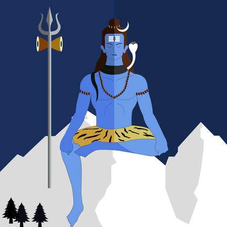 Hindu deity lord Shiva on a flat background, shiv jayanti vector eps-10 Illustration