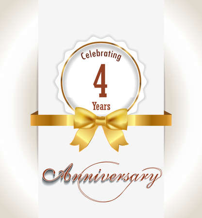 4th Anniversary background, 4 years celebration invitation card vector eps 10