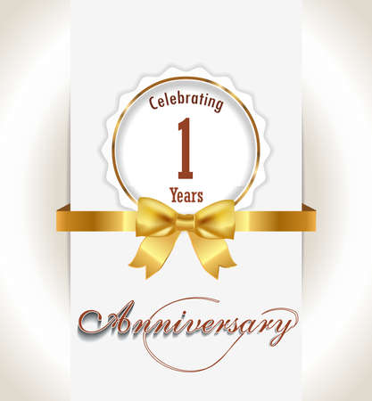 1st Anniversary background, 1 years celebration invitation card vector eps 10