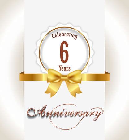 6th Anniversary background, 6 years celebration invitation card vector eps 10