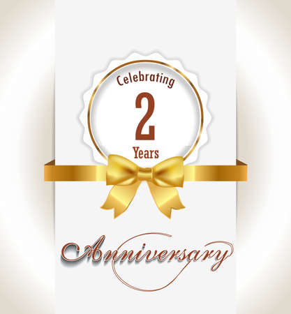 2nd Anniversary background, 2 years celebration invitation card vector eps 10