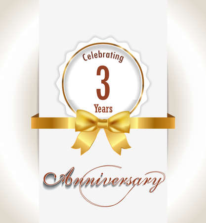 3rd Anniversary background, 3 years celebration invitation card vector eps 10
