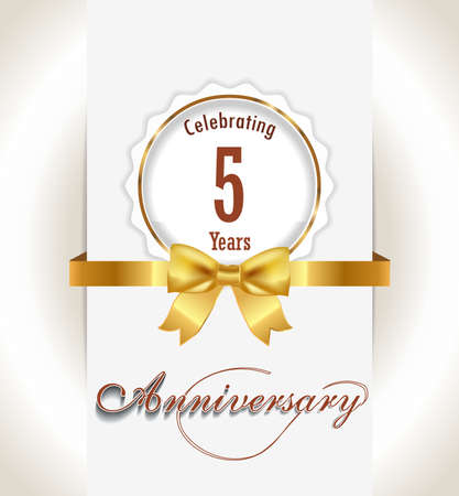 5th Anniversary background, 5 years celebration invitation card vector eps 10
