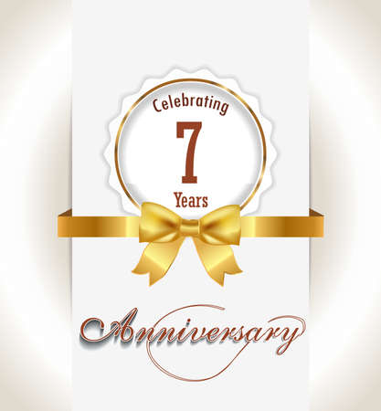 7th Anniversary background, 7 years celebration invitation card vector eps 10