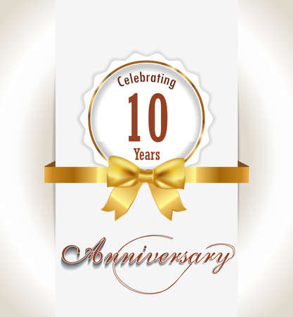 10th Anniversary background, 10 years celebration invitation card vector eps 10