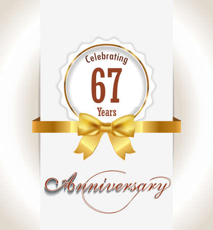 67th Anniversary background, 67 years celebration invitation card vector eps 10 Çizim