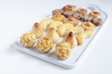 Panellets - typical catalan marzipan dessert for All Saints day called castanyada
