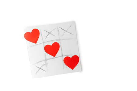 Valentine day concept, greetings card - tic tac toe drawn game with hearts isolated on white background Stok Fotoğraf