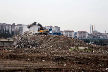 Debris from urban renewal projects in Istanbul, Turkey