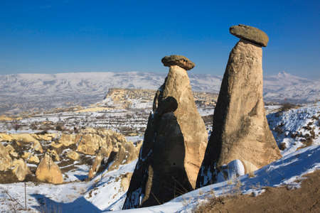 fairly: Fairly chimney in Cappadocia under snow in the winter time