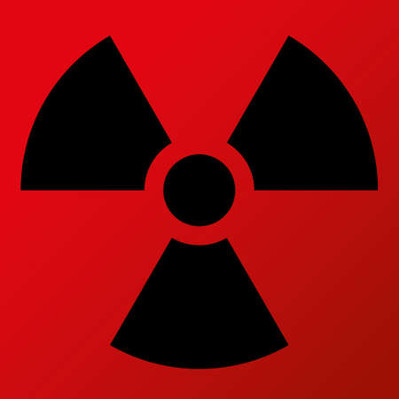 Nuclear Symbol Icon Vector  Black Symbol, Red Background