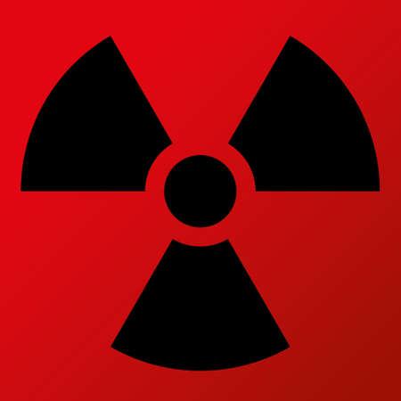 nuclear symbol: S�mbolo nuclear del vector del icono S�mbolo Negro, fondo rojo