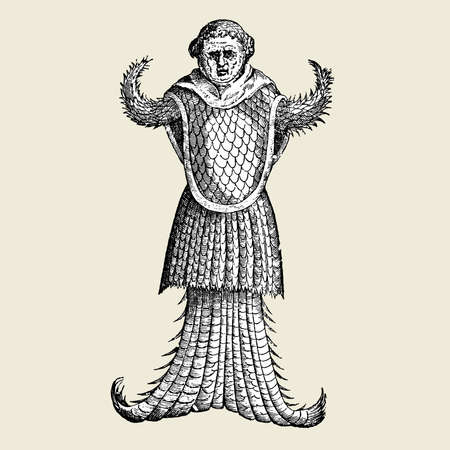 Engraving Monstrum marinum effigie monachi - ALDROVANDI, Ulysse - AMBROSINO, Bartholomeo - 1642