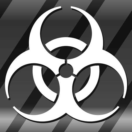 Nuclear Symbol Icon Vector White Symbol, Alert Grey background