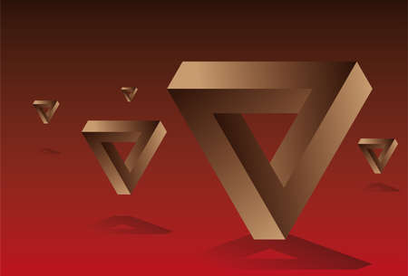 Infinite triangle composition Red   Illustration