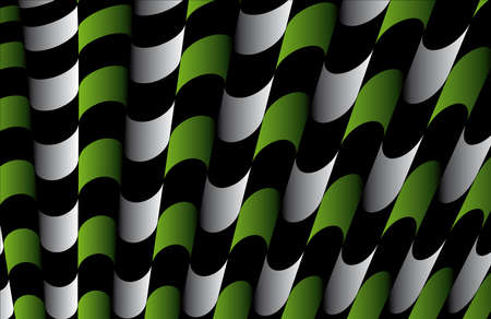 Abstract ornate striped textured geometric pattern  Green Vector