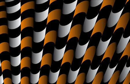 Abstract ornate striped textured geometric pattern  Orange Vector  Illustration