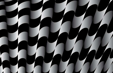 Abstract ornate striped textured geometric pattern  Black and White Vector  Vector