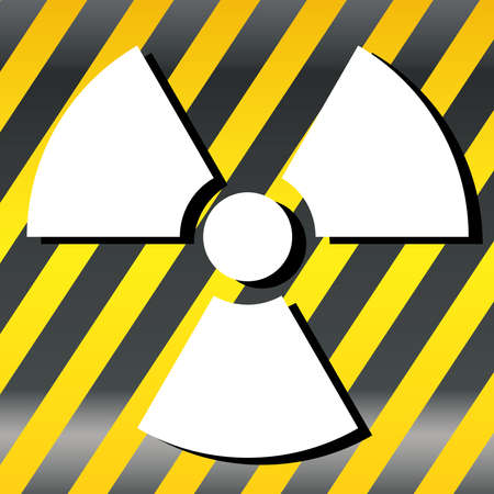 Nuclear Symbol Icon Vector  White Symbol, Yellow striped  Vector