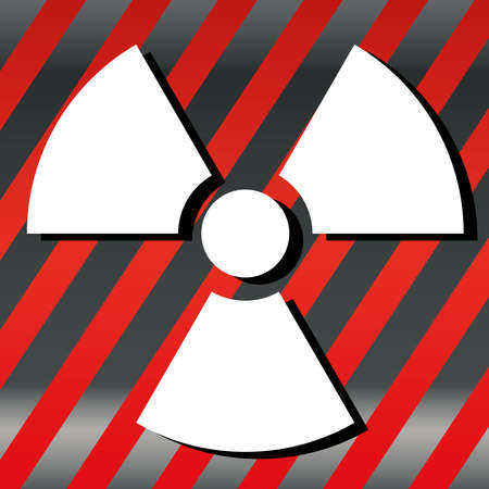 Nuclear Symbol Icon Vector  White Symbol, Red striped