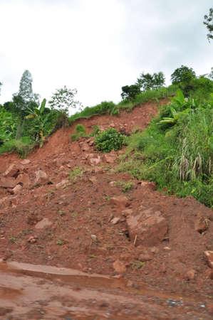 land slide: Land slide on north of Thailand in the rainny season.