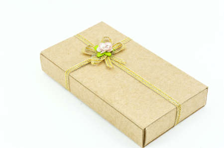 The gift box and white background Stock Photo - 12199023