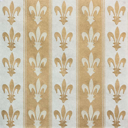 Royal lily (fleur-de-lis) pattern white and gold vintage background Stock Photo - 11186604