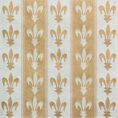 Royal lily (fleur-de-lis) pattern white and gold vintage background Stock Photo