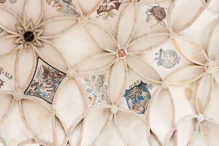 16th century: Beautiful medieval gothic style ceiling of the Saint Barbara Stock Photo