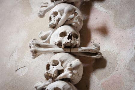 plague: Close-up of skulls and bones decorating the interior of the Sedlec ossuary (Kutna Hora, Czech Republic)