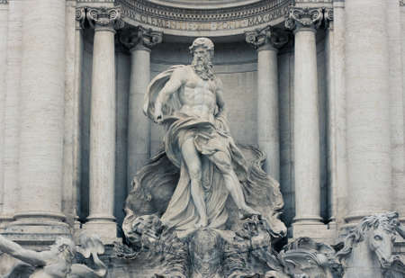 pilaster: Detail of the central niche of the famous Trevi fountain with the statue of Neptune - Rome, Italy Editorial