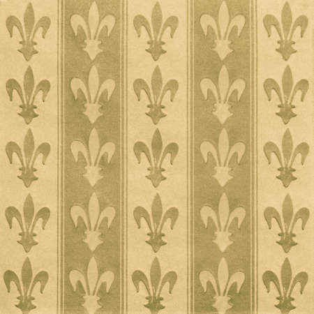 Royal lily (fleur-de-lis) pattern green and yellow vintage background photo