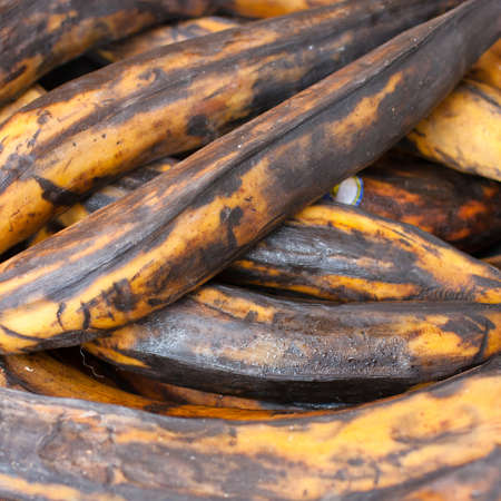 Closeup of ripe plantains (vegetable bananas) photo