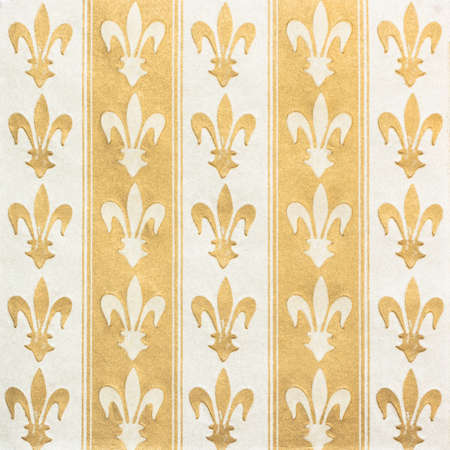 Royal lily (fleur-de-lis) pattern green and yellow vintage background Stock Photo - 12327181