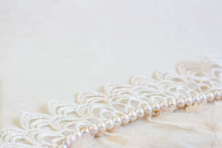 Lace and pearls vintage background Stock Photo - 12714603