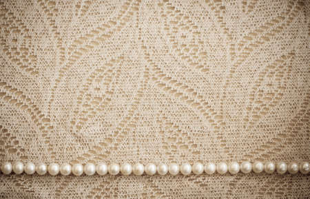 Lace and pearls vintage background Stock Photo - 12714819