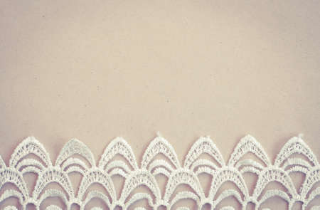 white trim: Lace trim vintage background with copy space Stock Photo