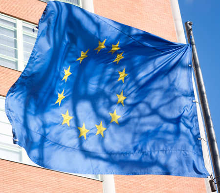 eurozone: Flag of Europe blowing in the wind Stock Photo