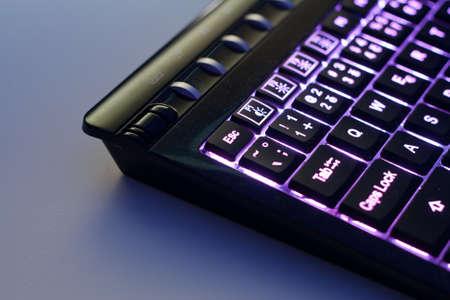 Closeup of a modern backlit keyboard