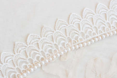 Lace and pearls vintage background Stock Photo - 13036530