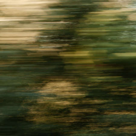 painted lines: Abstract painting-like background  trees along the railroad seen from a fast moving train