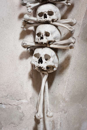 Close-up of skulls and bones decorating the interior of the Sedlec ossuary  Kutna Hora, Czech Republic