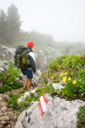 altitude: Mountaineering in the Alps - hiker walking down a hiking trail covered by clouds Stock Photo