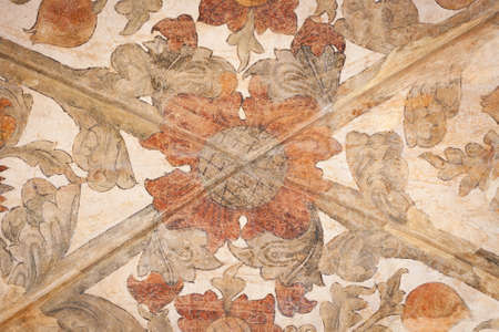 italian fresco: Closeup of an old painted arched ceiling